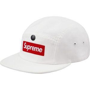 SUPREME White Snap Button Pocket Camp Cap